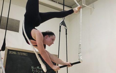 McBride practices art of trapeze