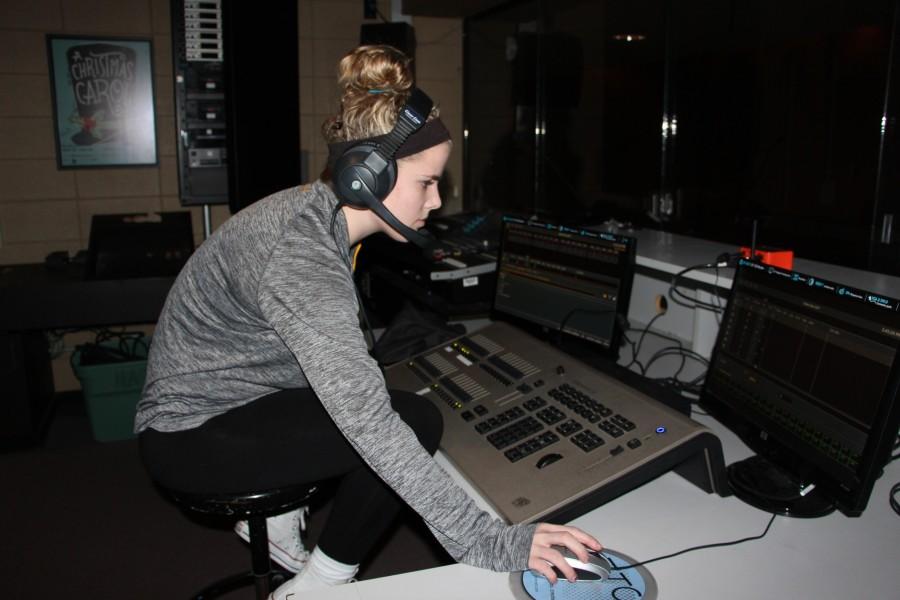 Katie Pelegrin, senior, enjoys working in technical theatre.