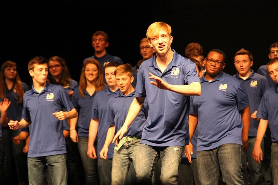 Caleb Nugent, junior, performed a solo with Chorale of