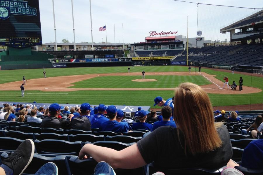 Varsity baseball team played Olathe East  at Kauffman Stadium on April 11. This was their fourth outing at Kauffman with Olathe East.