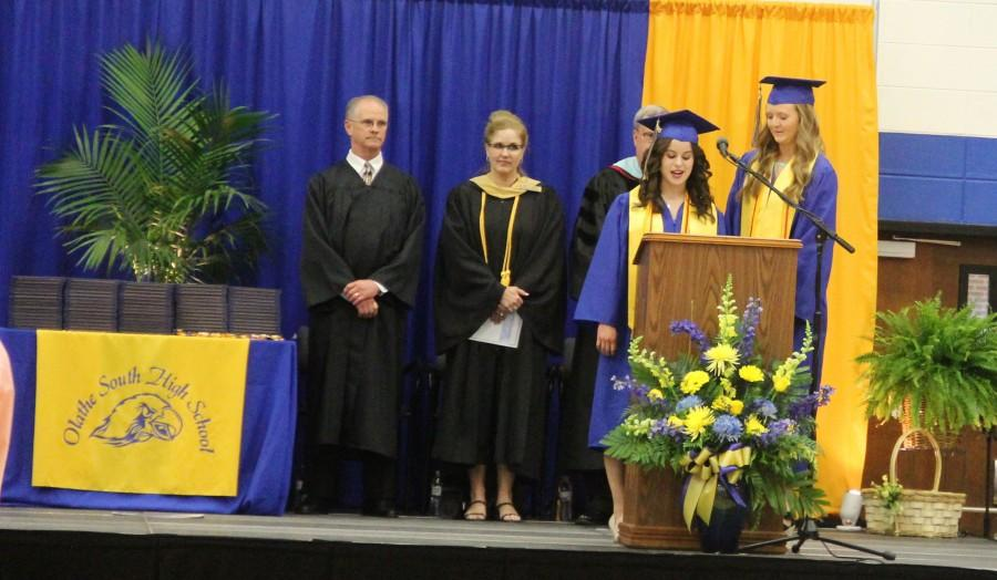 Ashley Reece, Student Council president and Molly Reeves, Senior Class president, making the welcome speech.
