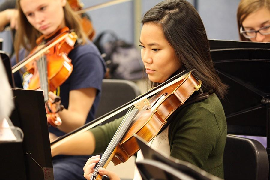 Rachel Porter, senior, plays the viola in the Advanced Orchestra. Because of Usher Syndrome, she must learn to adapt to the challenges of losing her hearing in all aspects of her life. Music will be one of the most difficult obstacles because hearing is a very important part of playing an instrument.