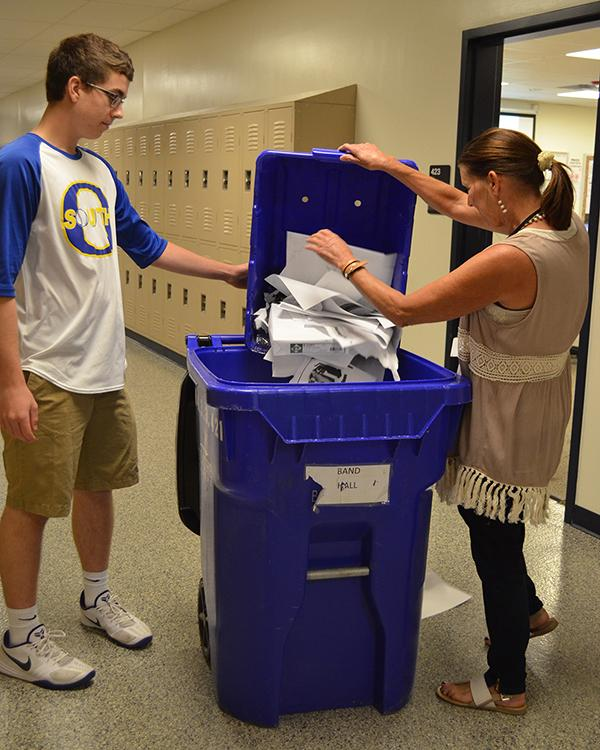 Students have been helping collect and dispose of trash in classrooms as part of the fourth hour Student Volunteers class to assist the custodial staff.
