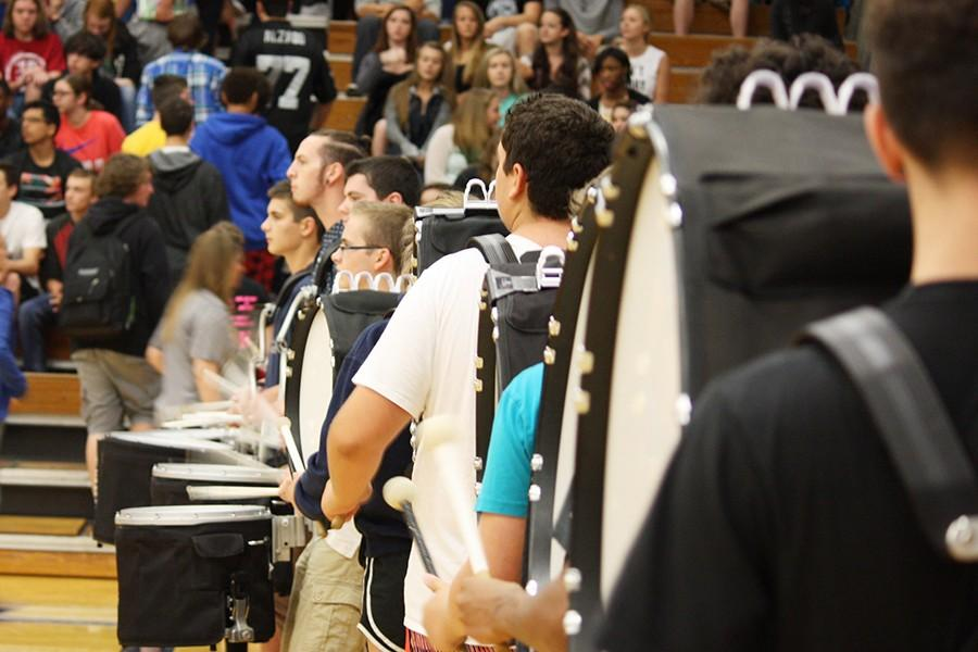 The Regiment volume pumps up the volume at the Aug. 28 pep assembly.