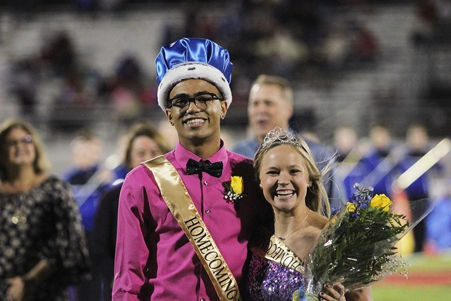 Homecoming king and queen, Zach Fields and Alyson Stewart, seniors, were crowned at the Homecoming game.