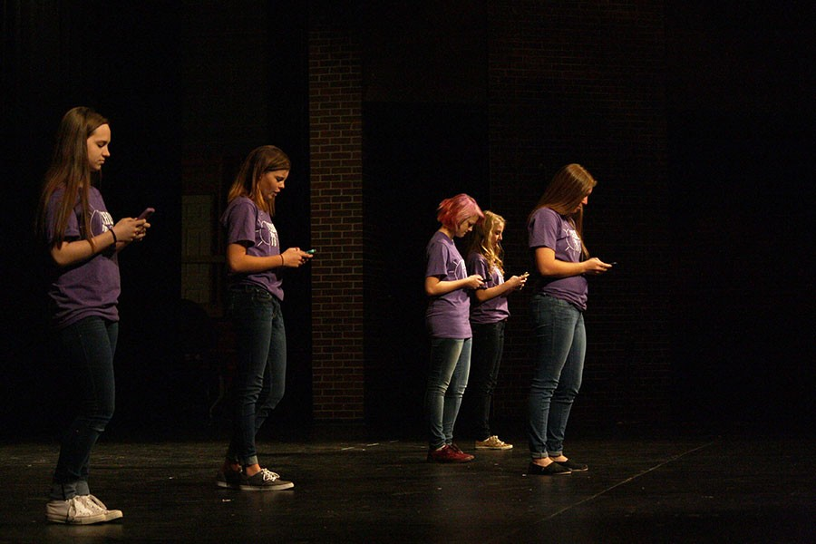 Students involved in BRAVE perform a suicide prevention skit for the freshmen.