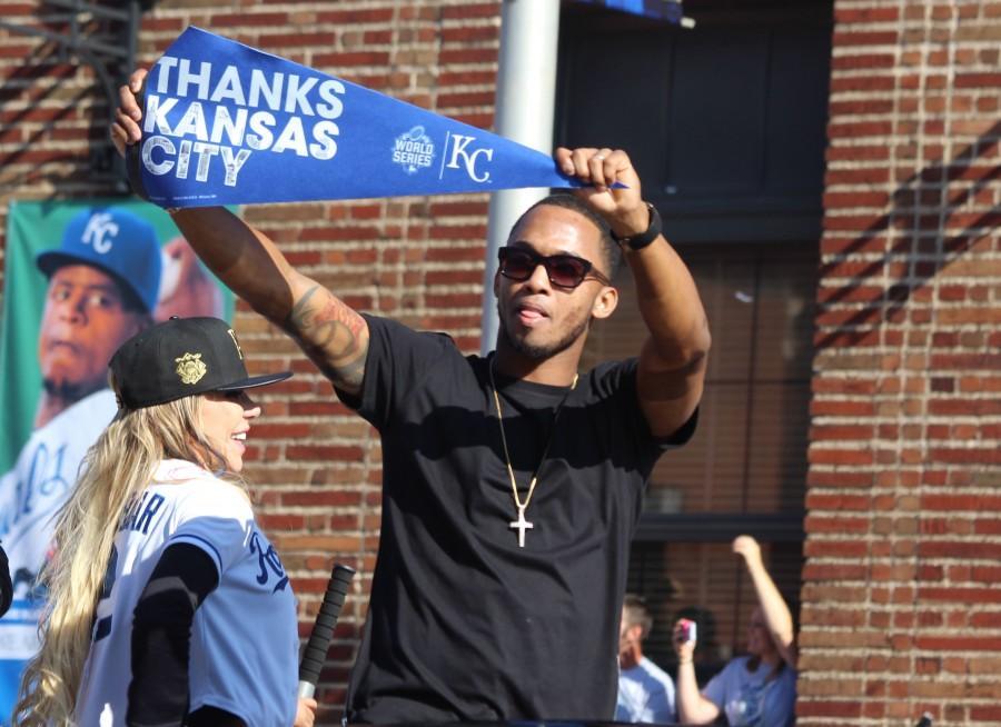 Alcides Escobar, short stop, thanking Kansas City at the parade on Nov. 3.