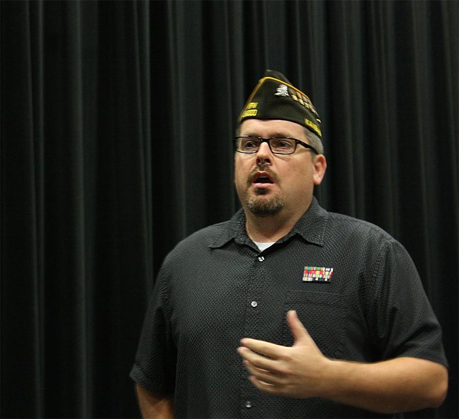Mr. Spritzer gives a presentation about his time in the navy.