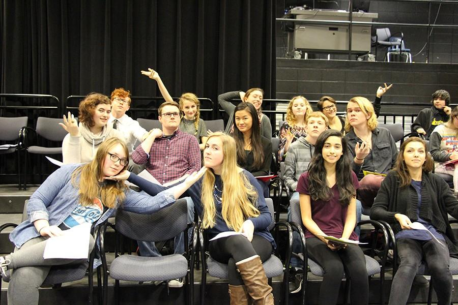 Students participating in Shakespeare Out Loud
