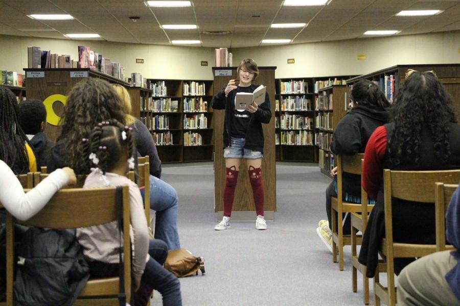 Olathe South student performed her poem at the open mic night on Feb. 4th.
