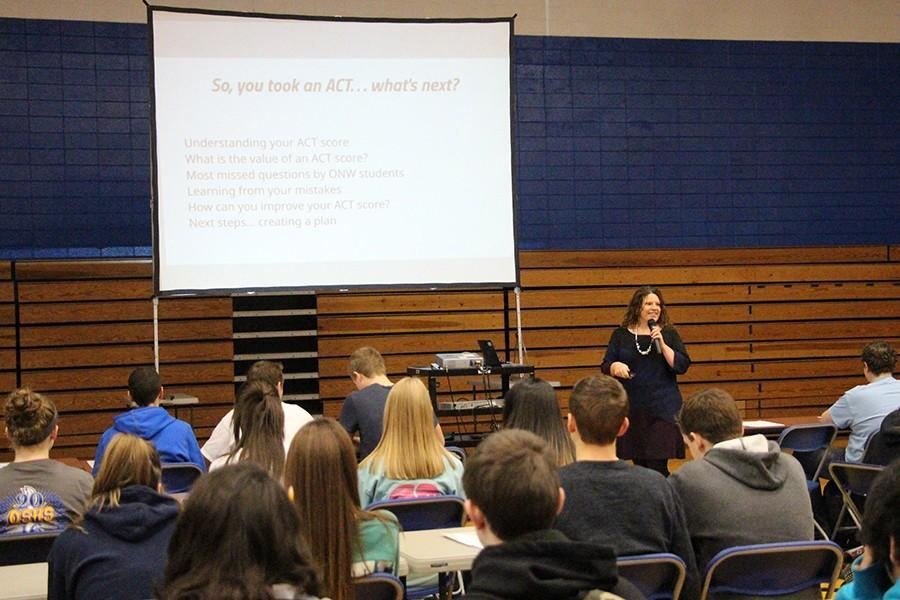 Jennifer Addington explains to students how they can understand their ACT scores and to do better on the test. These students learned the importance of the ACT and how getting a good score can improve your college options.