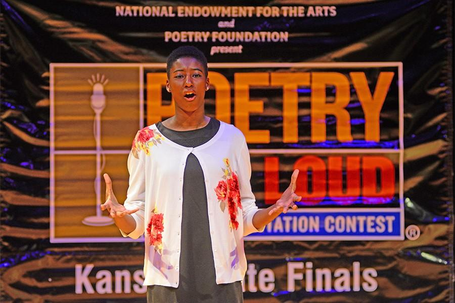 Kahdija Ceesay, freshman, competing at the state Poetry Out Loud contest.