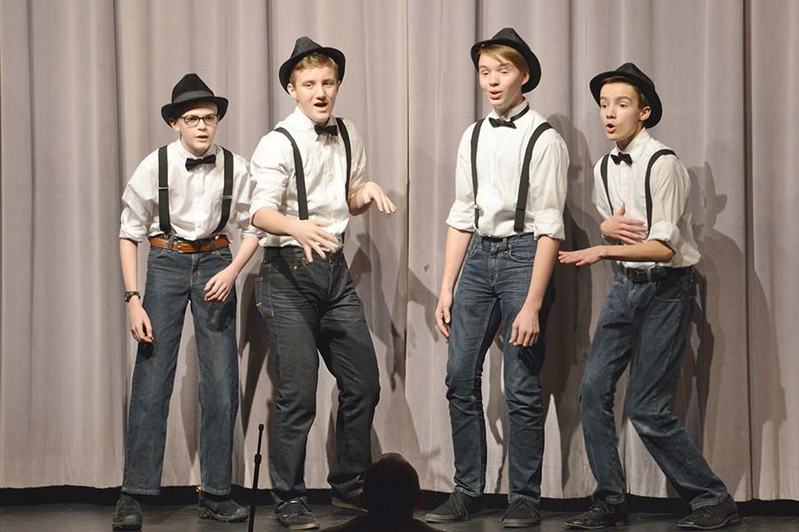 Stay Tuned (Mat Besch, Evan Nugent, Jon Swanson, Ethan Christiansen) performs at Harmony Explosion. They recieved a Gold Medal and First Place in the Freshman/Sophomore division.