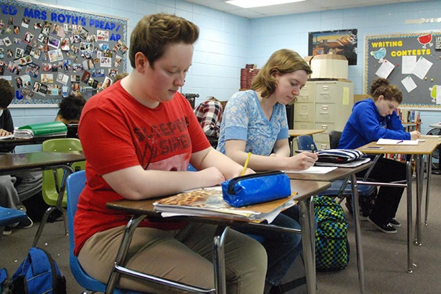 Shelby Otte, senior, writing in creative writing class
