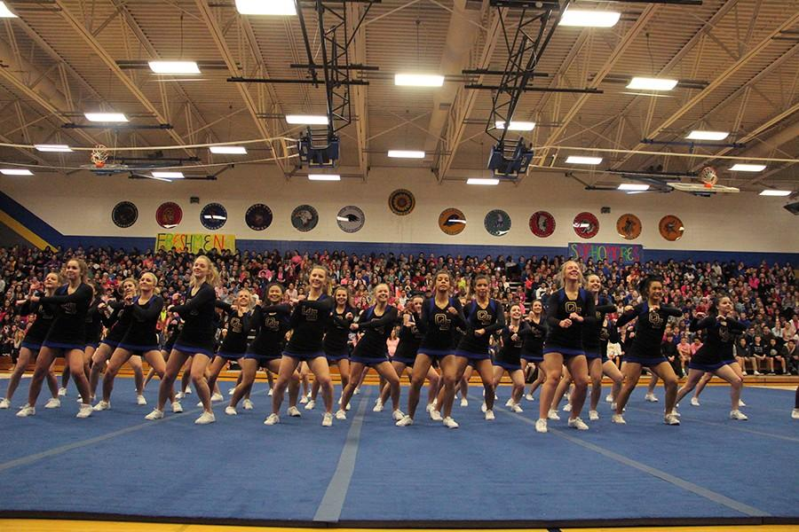 Cheerleaders during the assembly at the end of their performance