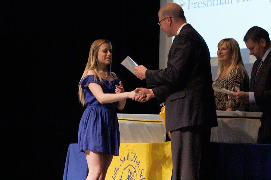 Victoria Hester, freshman, recieving the academic achievement award.