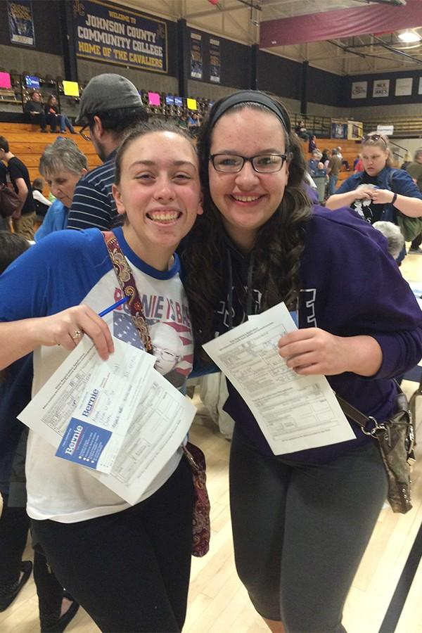 Alyssa Hoedl and Kayla Staley, seniors, showing that they registered to vote.