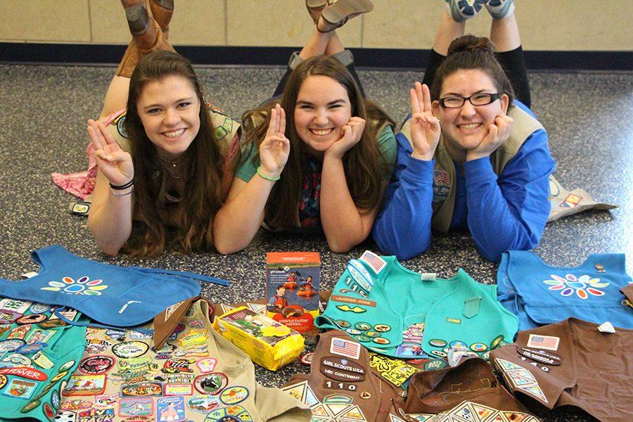 Darrianne Conely, Jennifer Moore, and Hayley Nitz left to right Girl Scouts
