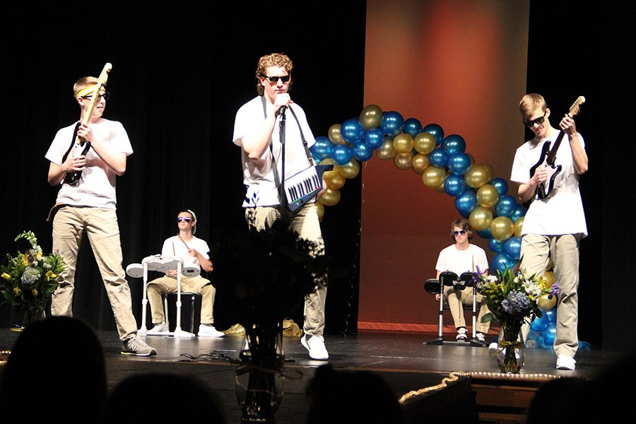 Zach Hoeven, Will Bax, Jacob Peters, Cooper Reves, and Jared Hutton competing in Mr. Falcon