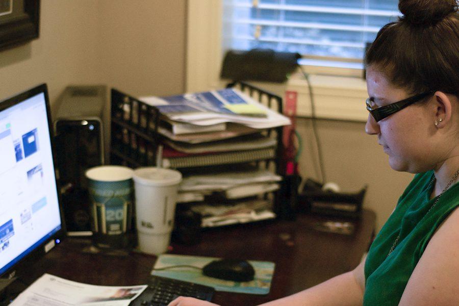 Hayley Nitz, junior, working on her comic, Chasing Hitler.