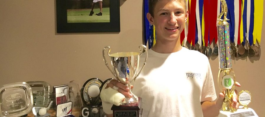 Jackson Likes shows off his numerous golf trophies and medals. Even though he started playing only a few years ago, Likes has quickly improved. He has participated in multiple youth golf events such as the Texas Open. Likes has been unable to play  for the falcons this year due to breaking his finger.