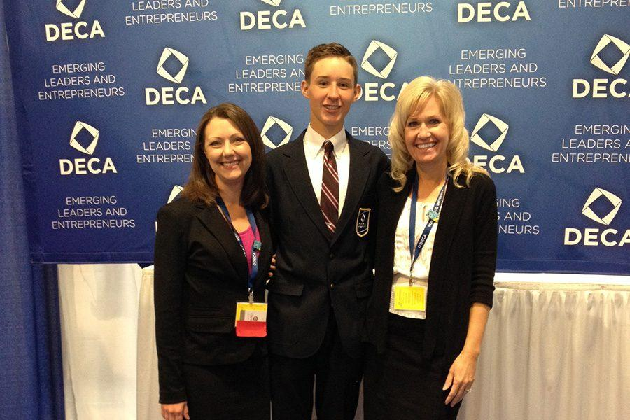 Ryan Hovey, junior, with Mrs. Doane and Mrs. O'Brien at DECA Nationals in Nashville.