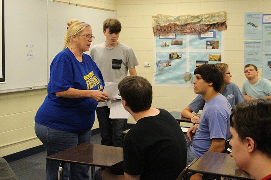 Deborah Abernathy, math teacher, engages students during class.