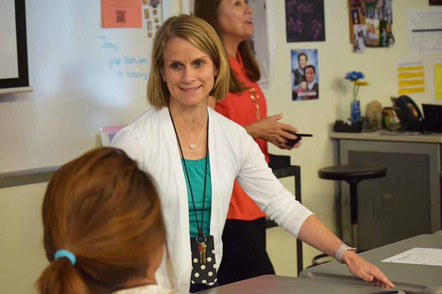 Mary Glotzbach, new counselor, shares at a recent meeting.