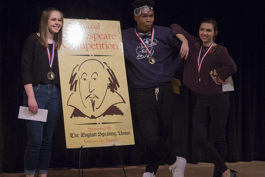 (L to R) Erin Viets, Third Place Winner, junior, Shawnee Mission South High School; Aleksandra Kostic, senior, Olathe South High School;