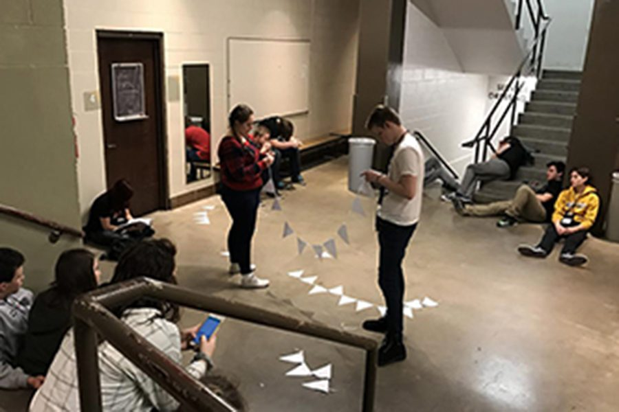 """The cast and crew of """"Peter and the Starcatcher"""" waiting for their performance time at the thespian festival in Wichita on January 7th, 2017."""