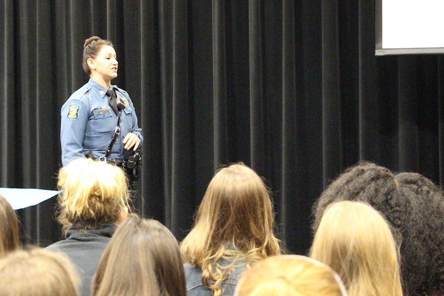 Kansas Highway Patrol Trooper Candice Bershears spoke about distracted driving at a January PCA lecture.