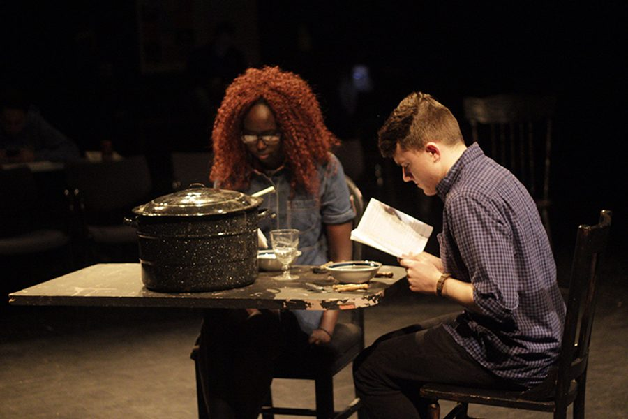 Jacob Johnson and Akuec Yel running lines at an afterschool rehearsal for The Crucible