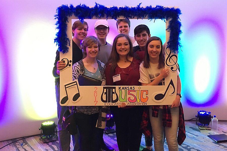 Chayston Simmons, Kaeli Whitener, Jonathan Swanson, Brittany Taylor, Ms. Peterson, Jordan DeLeon, and Kathryn Sommers at KMEA over the weekend, Feb. 23 - Feb. 25.