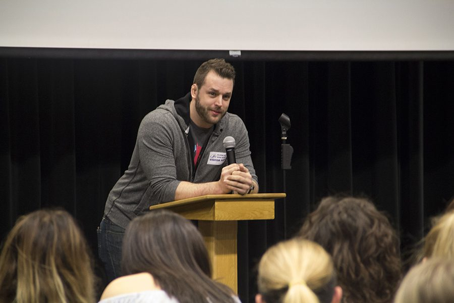 Josh Henges speaks about homelessness during a PCA Lecture.