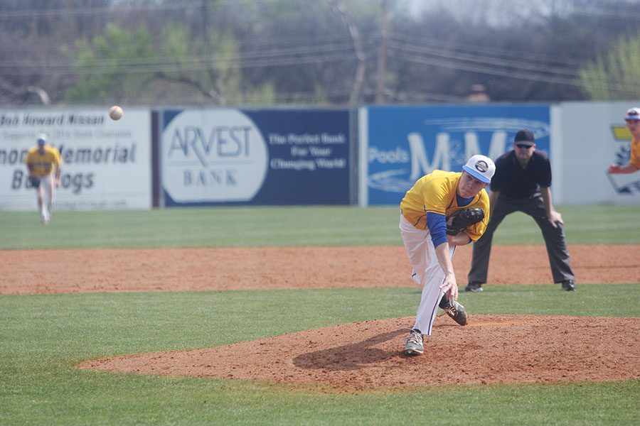 Blake Van Hercke, senior, pitching.