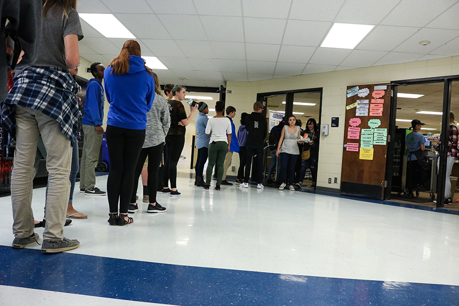 Lunch lines, unfortunately, usually take too much time from students. The lines outside the cafeteria still go on inside of it.