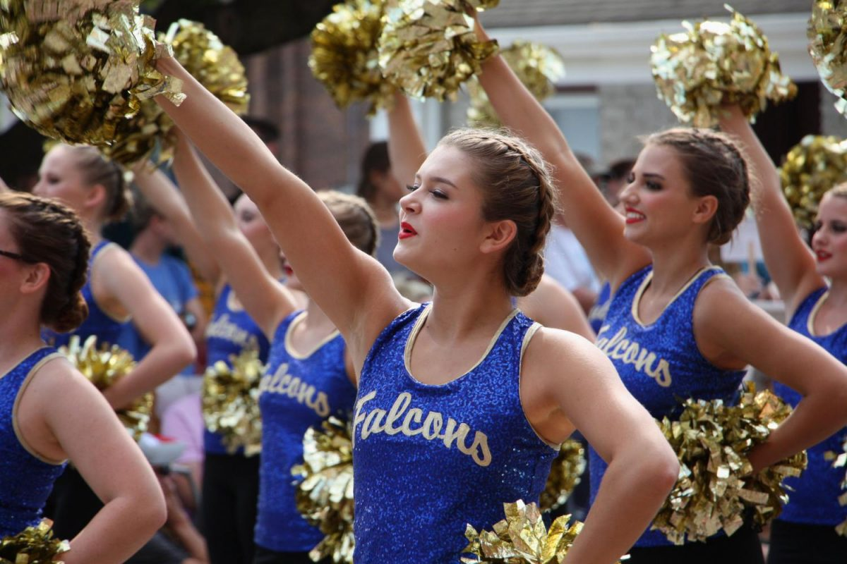 Kennedy Shaffer is front and center with the drill team during the Old Settlers Parade.