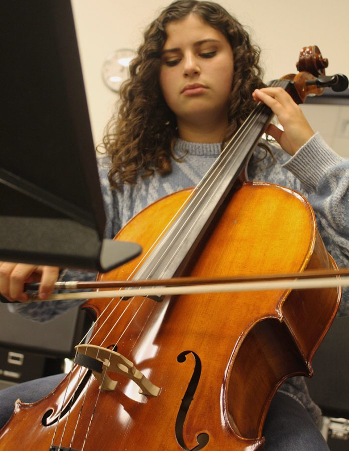 Hayley Murguia, senior, plays first chair cello in the Orchestra.