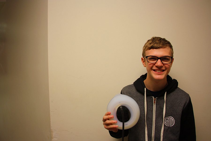 Mat Besch is holding the suction cup he needs for his experimental treatment of Pectus Excavatum