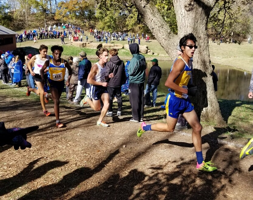 Lucas Shryock, senior, runs a 5K state at Rim Rock Farm in Lawrence on Oct. 28. Shryock placed ninth overall out of 104 runners.