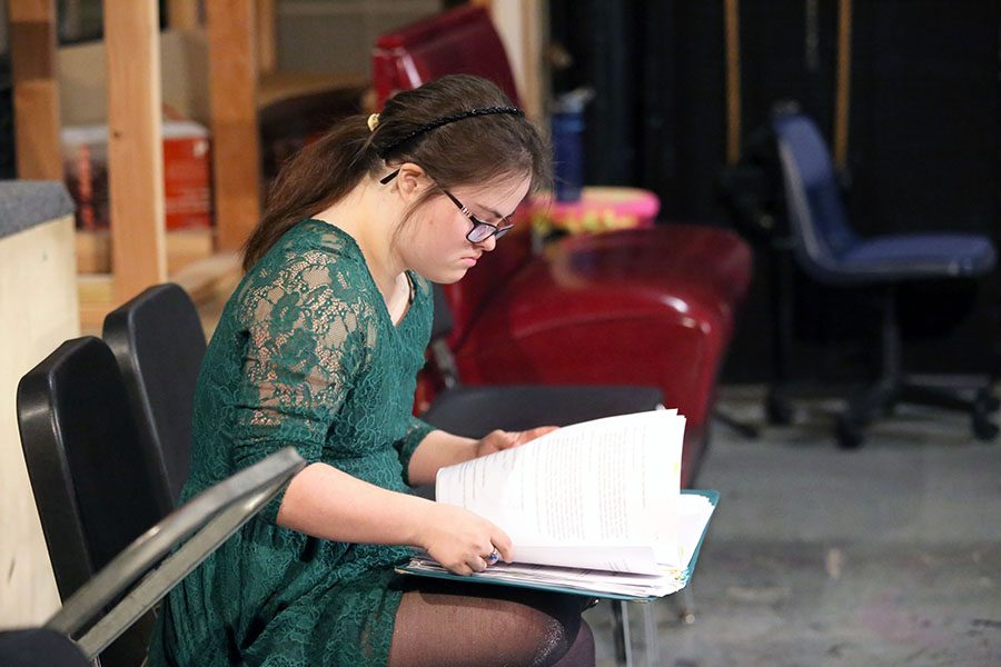 Rachel Mast studying lines for play