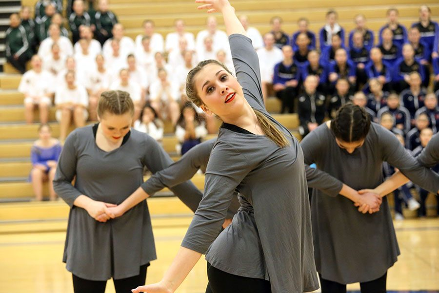 The freshman dance team also competed at Miss Kansas. Here they are doing their jazz routine.