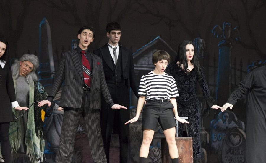"Jordan DeLeon, junior, and Abby Allen, senior, play Gomez and Morticia Addams in the musical on Feb 1-3.  Megan Secrest and Gabby Russel, seniors, play Grandma and Pugsley. Shawn Cartier, junior, played Lurch and Anna Hastings, sophomore, played Wednesday. ""The Addams Family "" received great feedback about the show."