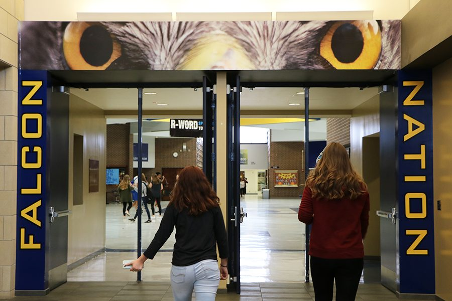 People entering the school are now greeted by a large pair of Falcon eyes.