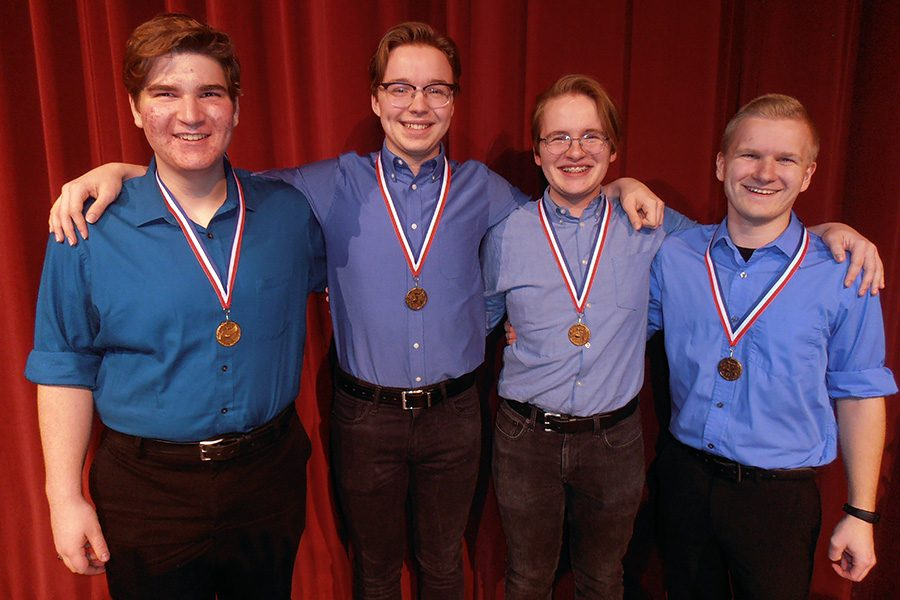 The group When Pigs Fly received a gold medal at the Harmony Explosion competition on Feb. 24. Group members are (from L to R) Jaimeson Satterfield; Jonathan Swanson; David Swanson; and Dalton Hayse.
