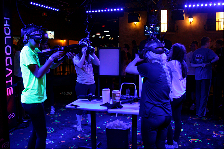 Seniors try out a virtual reality game.