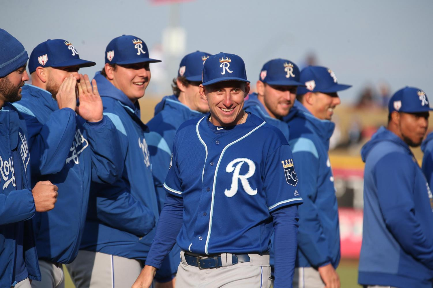Frank Schwindel, first baseman, receives a warm ovation from the crowd in Omaha before an exhibition game. Schwindel received news prior to the game that he had been selected for the Royals' Major League roster for Opening Day. Photo courtesy of Minda Haas Kuhlmann.