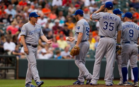 Ned Yost, Royals manager, walks to the pitcher's mound to remove Greg Holland, pitcher, from a game against the Baltimore Orioles. Yost announced his retirement, ending the most successful managerial tenure in Royals history.