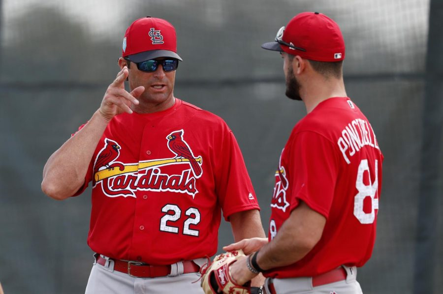 Mike+Matheny%2C+Royals+manager%2C+talks+about+pitching+with+Daniel+Ponce+de+Leon%2C+pitcher%2C+during+his+time+with+the+St.+Louis+Cardinals.+Matheny+was+hired+as+the+20th+manager+in+Royals+history.