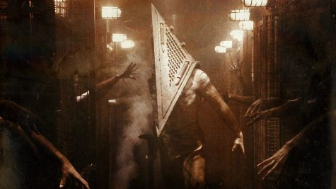"Enemy, ""Pyramid Head"" is the subject on a soundtrack cover."